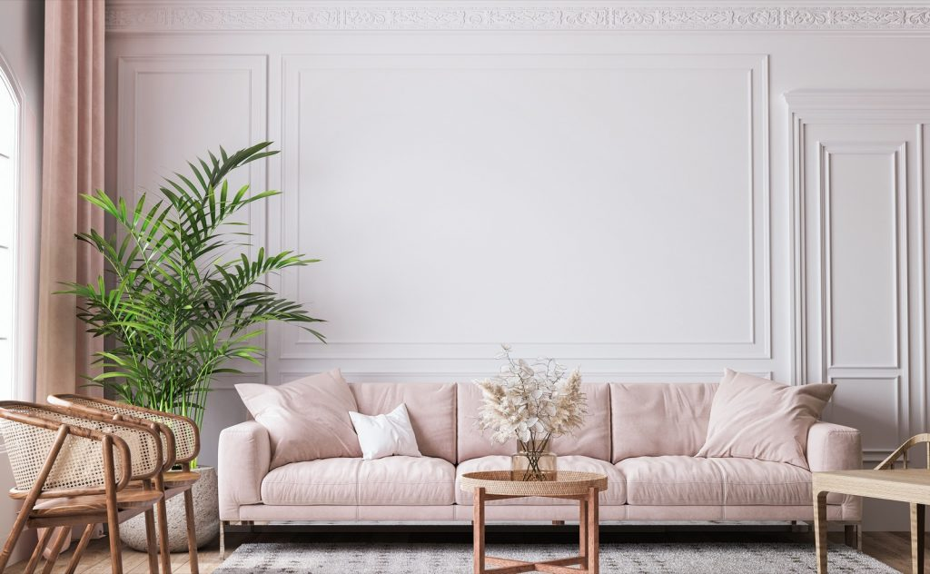 Living room with sofa and curtains in pink pastel colors