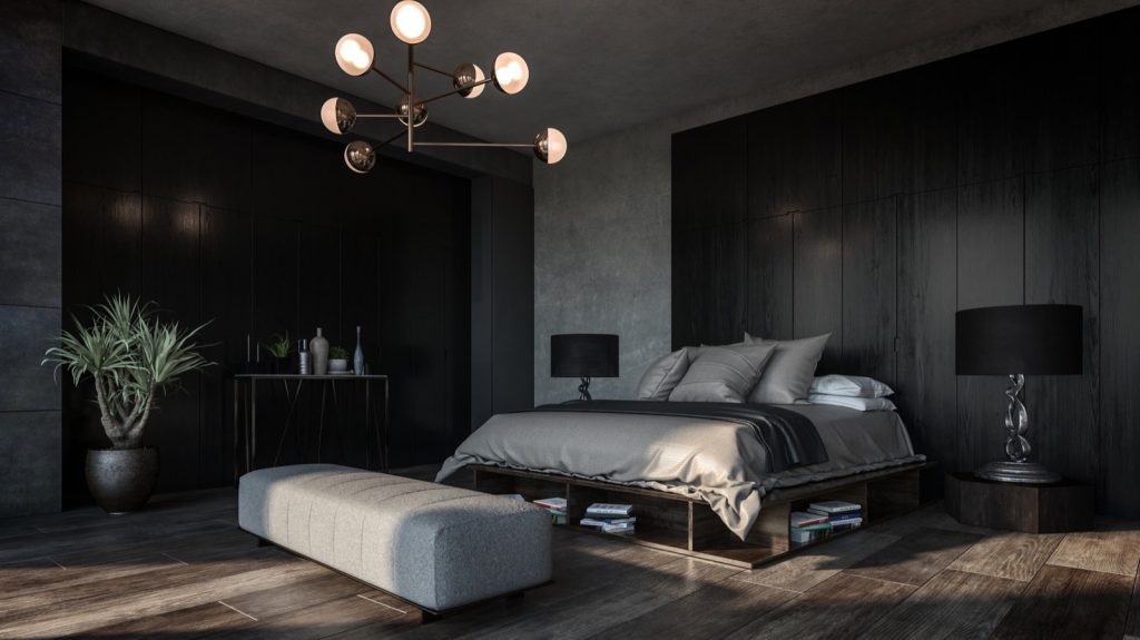 Luxury bedroom interior design using dark colors to set the right mood