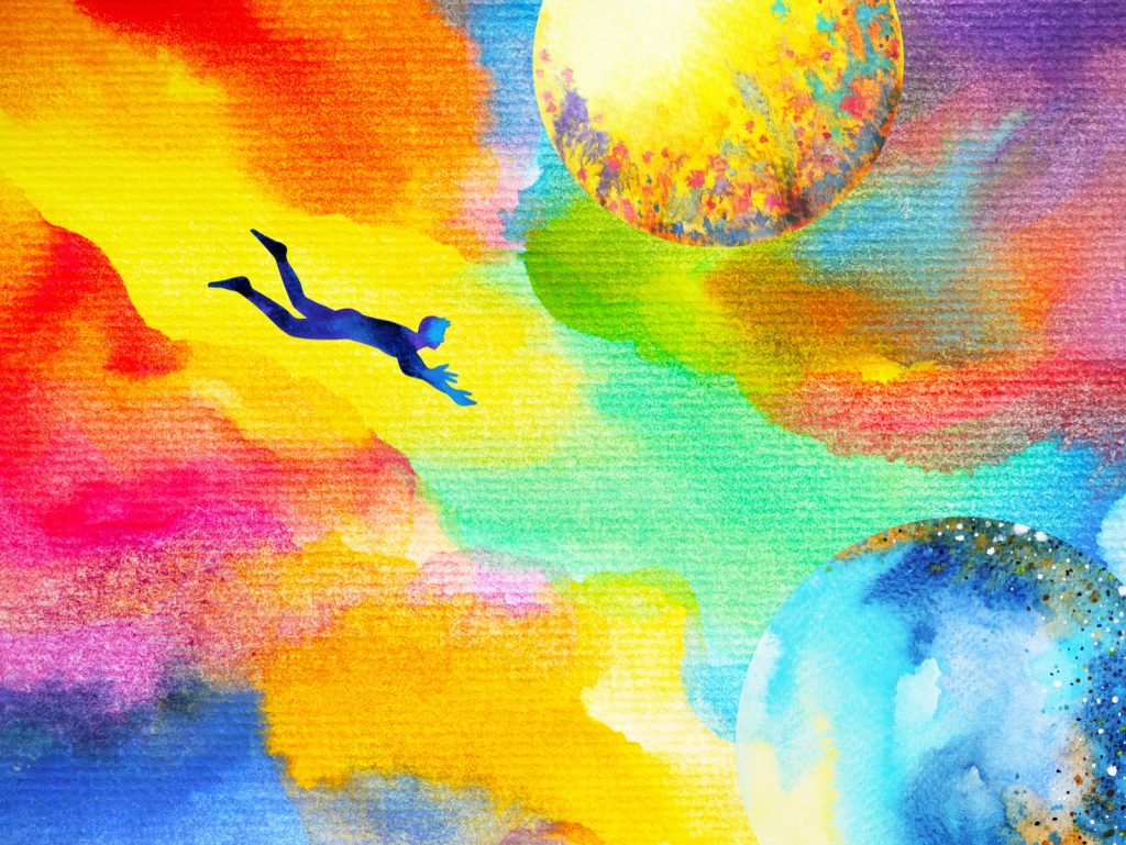 Watercolor painting of man flying in abstract colorful dream universe