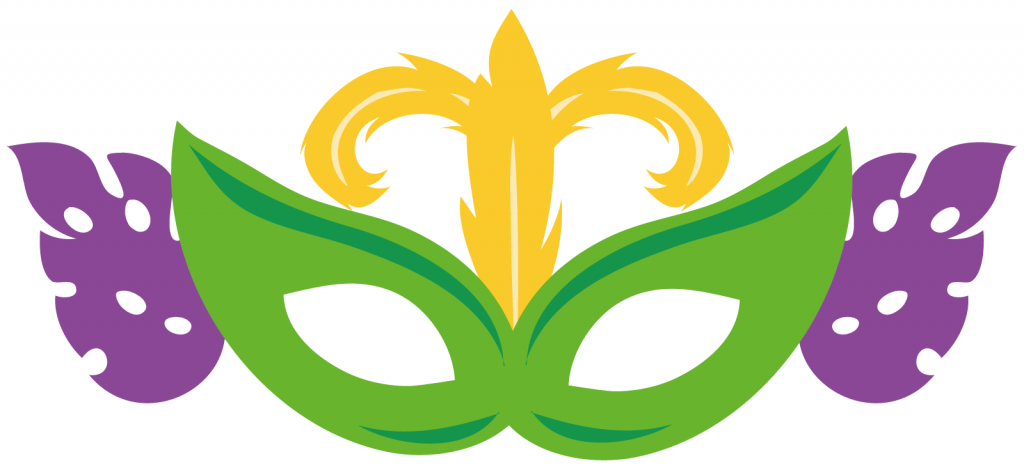 Mardi Gras celebration mask in purple, green and gold colors