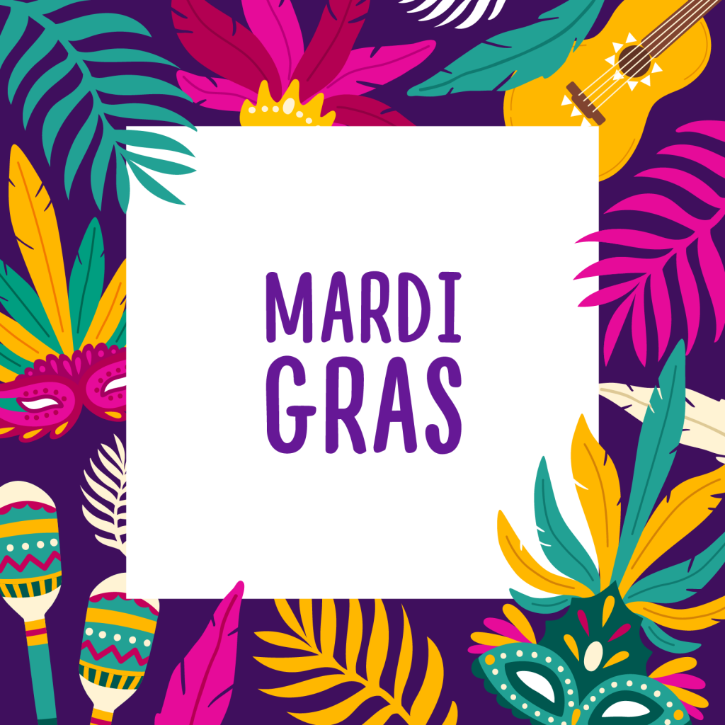 Mardi Gras colored background square frame decorated with exotic palm tree leaves, carnival masks, maracas and guitar