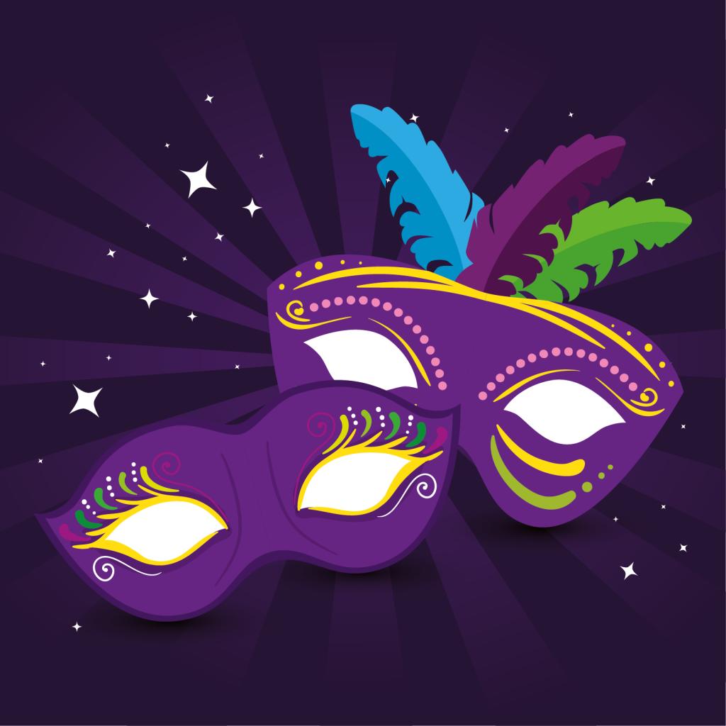 Mardi gras masks design in festive colors