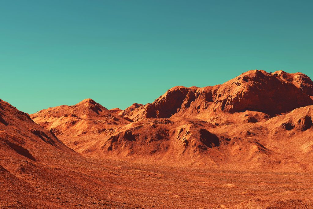 Mars landscape with red colored rocky terrain