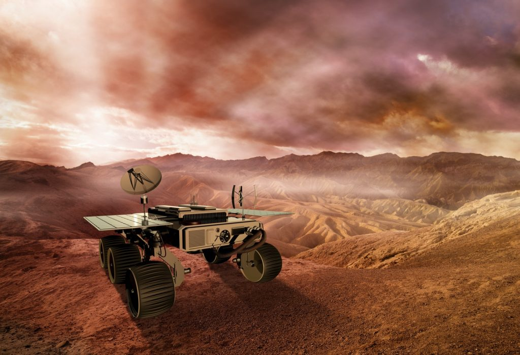 3d illustration of Mars rover exploring the Red Planets surface
