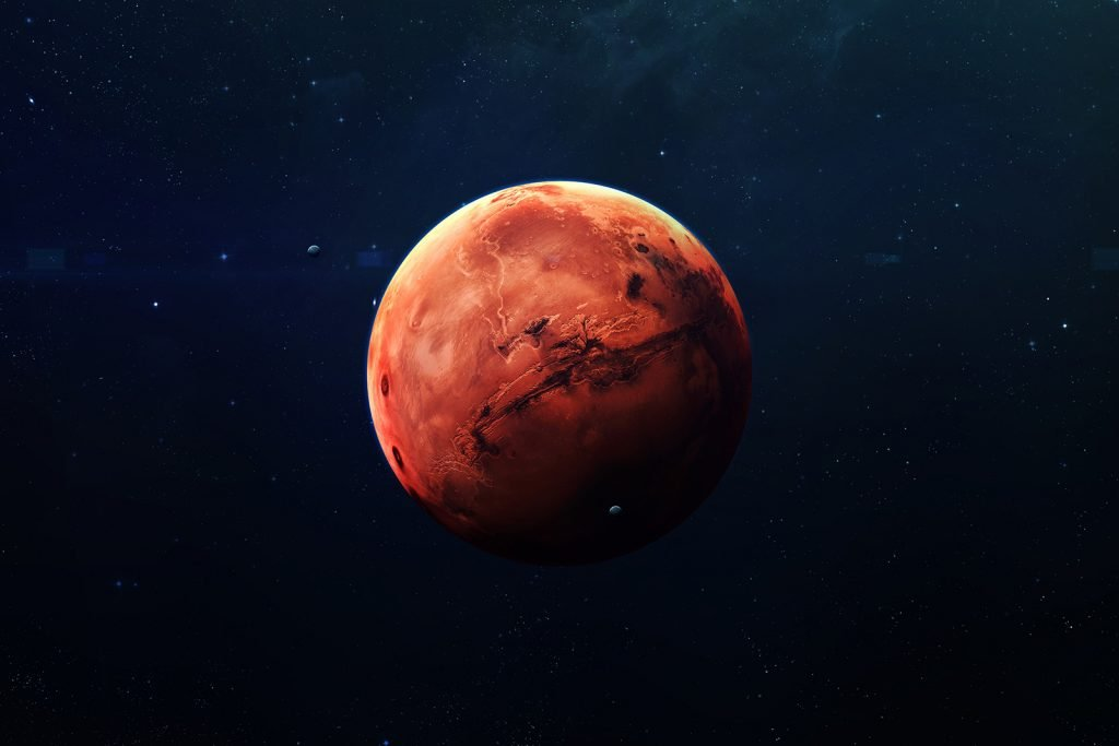 The red planet Mars in the solar system