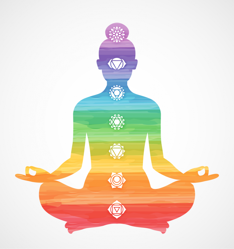 Meditating silhouette made of the seven chakra colors