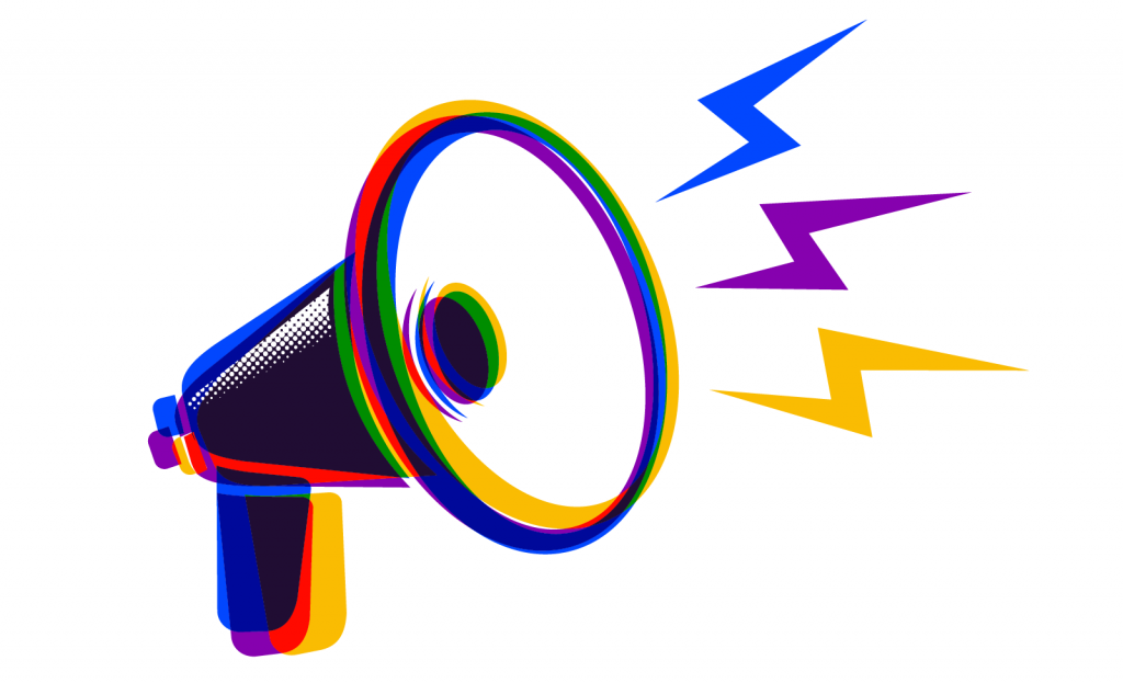 Megaphone in yellow-orange, purple and blue split-complementary colors