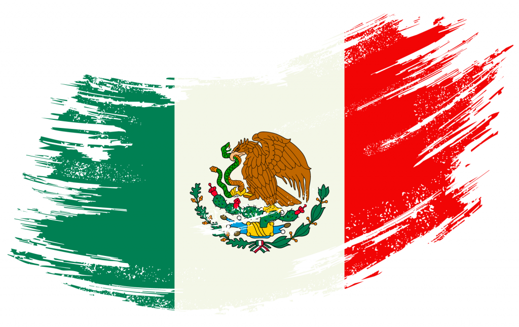Mexican flag paint brush stroke in green, white, and red colors