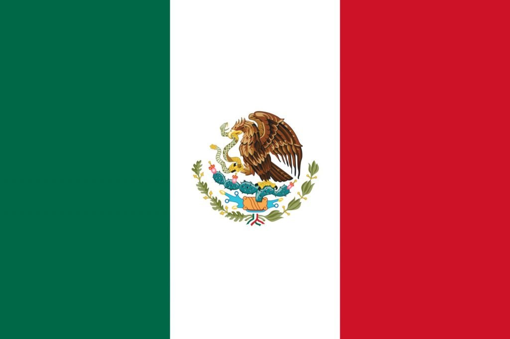 Green white and red flag from Mexico