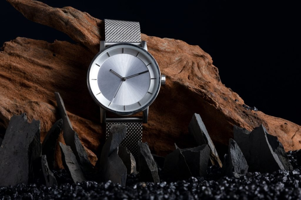 Minimalistic gray stainless steel watch