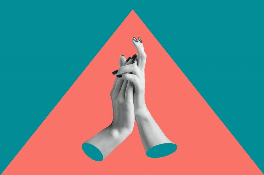 Modern conceptual art poster with hands in a pop surreal style using dominant and recessive colors