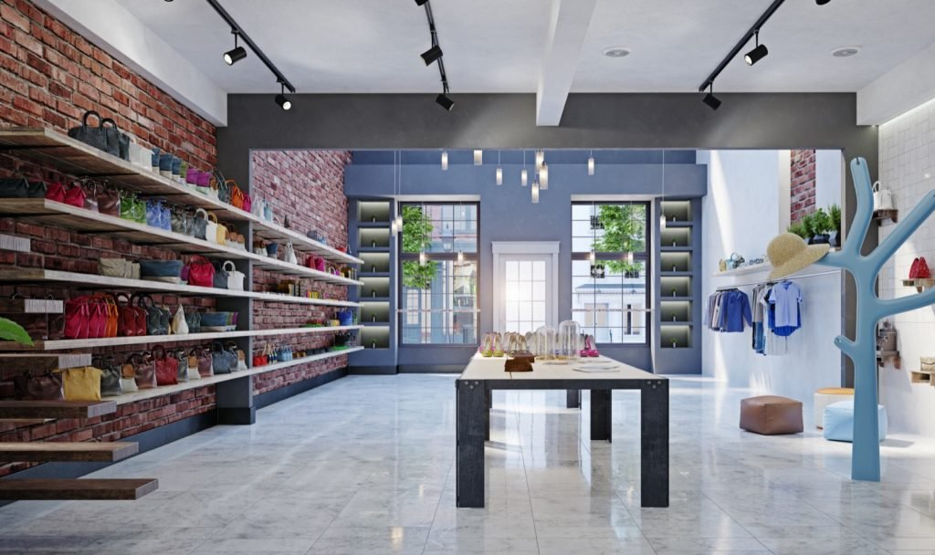 Modern shop interior design with trendy colors