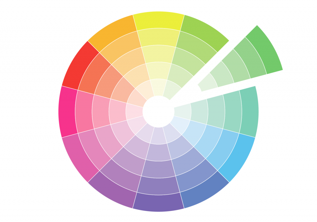 Monochromatic color wheel isolated on white background