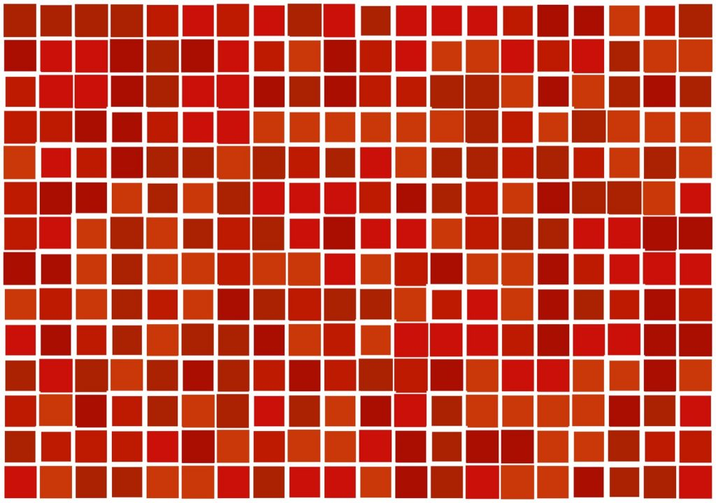 Mosaic squares with similar shades of red orange colors