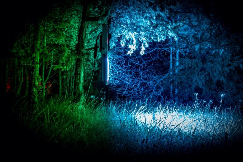 Mosquitoes hovering around blue and green colored light from lamp