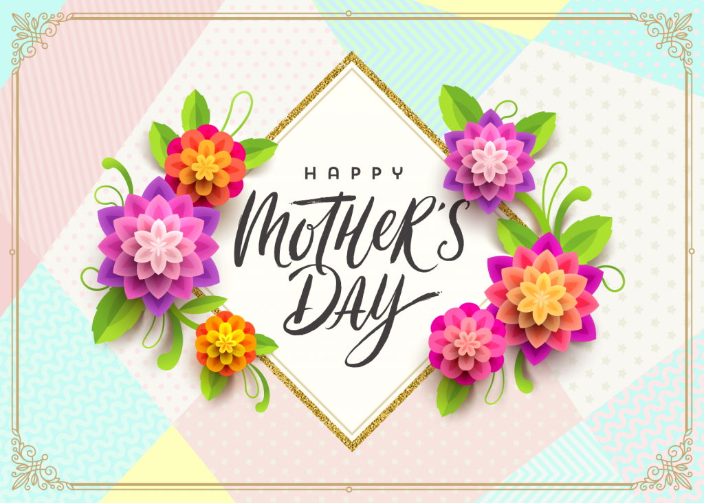 Mother's Day greeting card in green, yellow, red, blue, and pink colors
