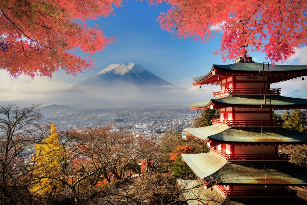Mount Fuji with fall colors in Japan