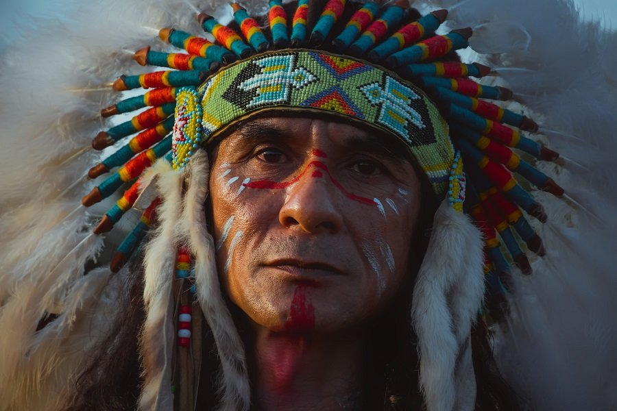 Portrait of Native American Indian man.