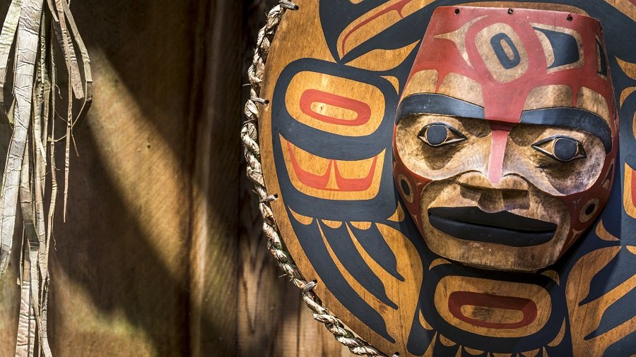 Close up of a painted Indian face mask