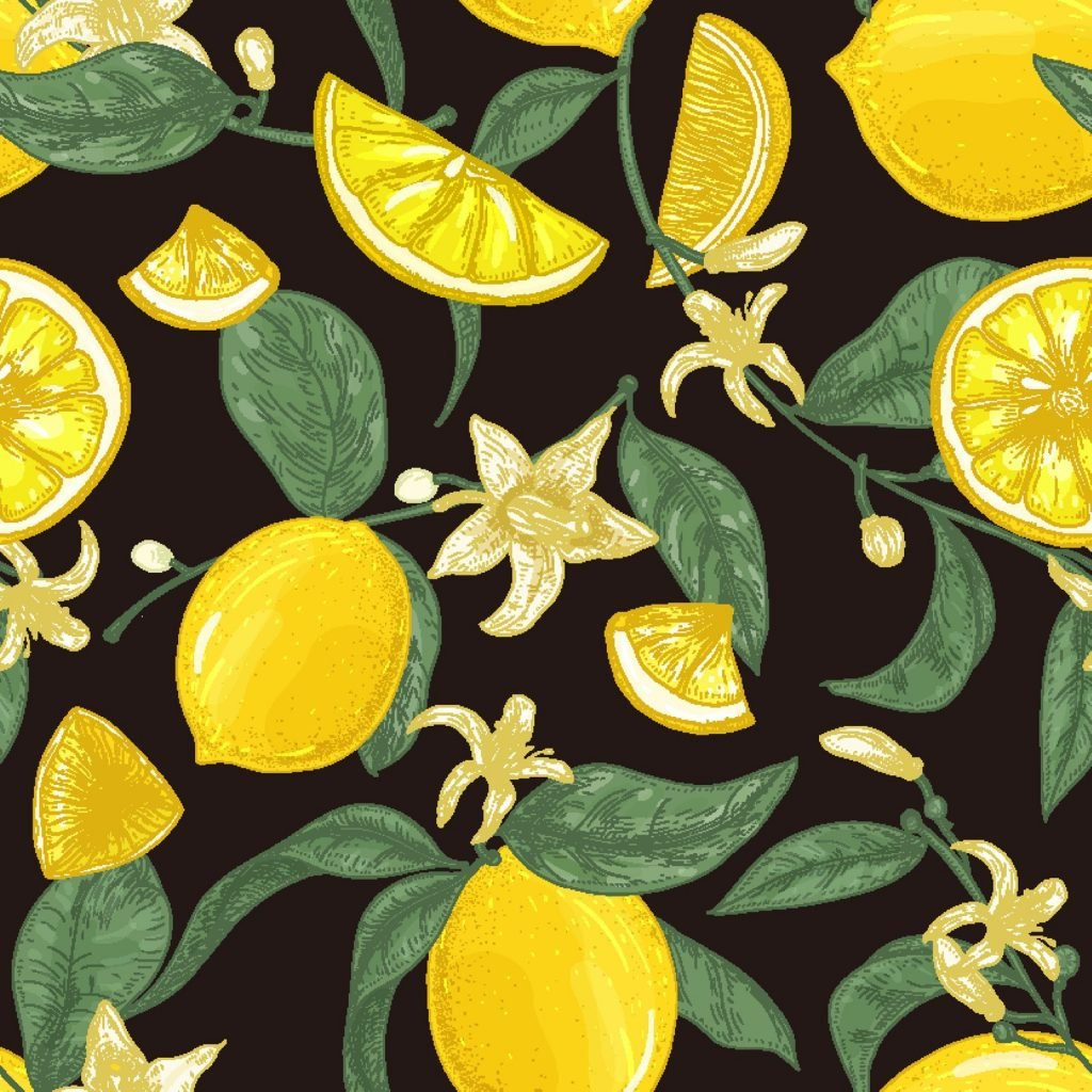 Natural seamless pattern with fresh juicy lemons on black background
