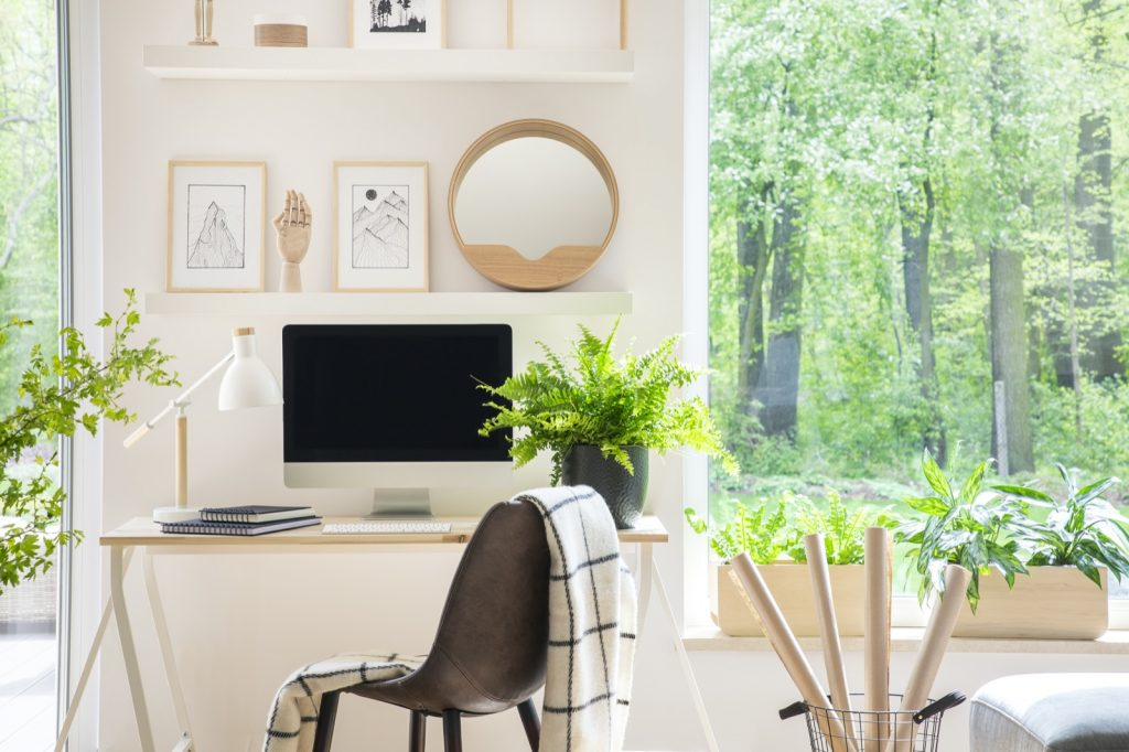 Natural white home office interior with green plants