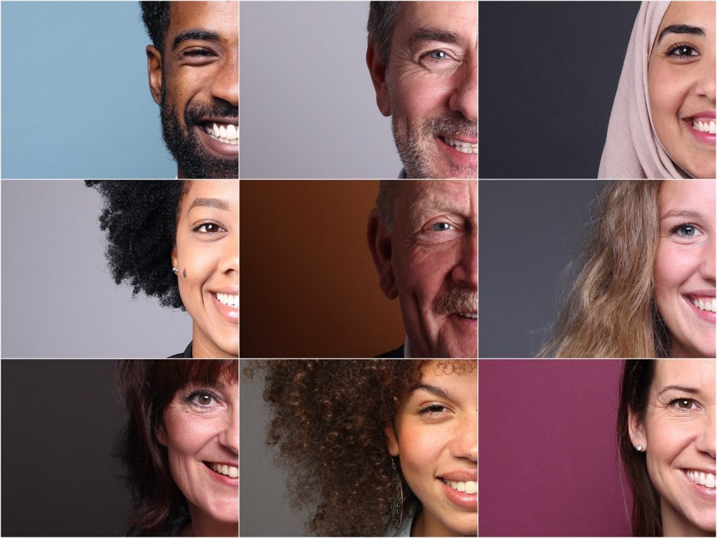 Portraits of nine people with different skin and hair colors on colored backgrounds