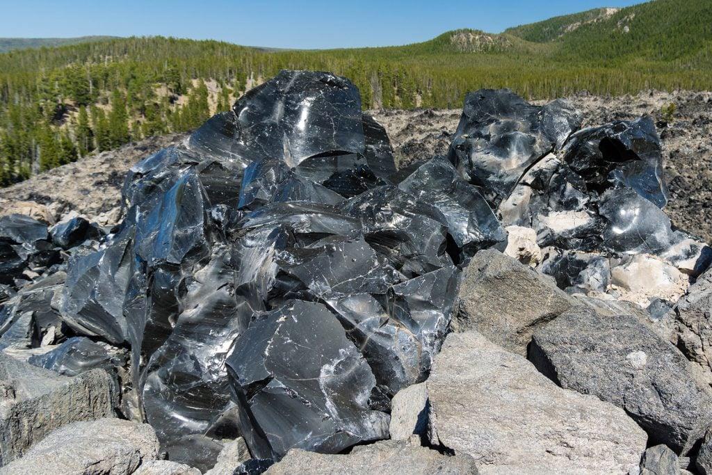 Obsidian black volcanic rock glass