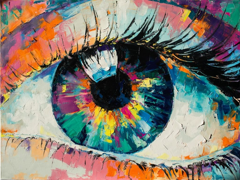 Oil painting of a colorful eye