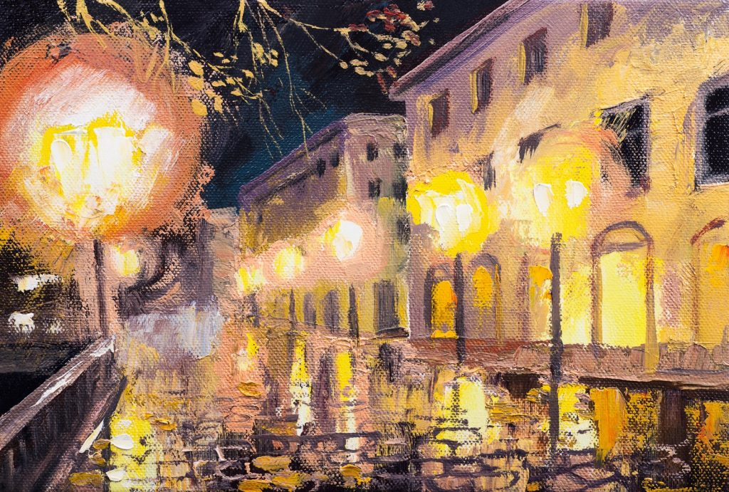 Oil painting of night in Paris with street lamps along brick road