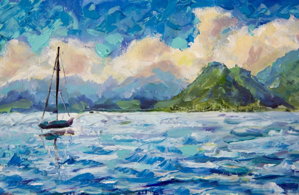 Oil painting with turquoise blue and cyan shades, sailboat and green mountains