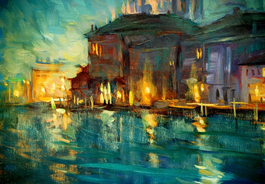 Oil painting of Venice at night with brown, turquoise and yellow colors
