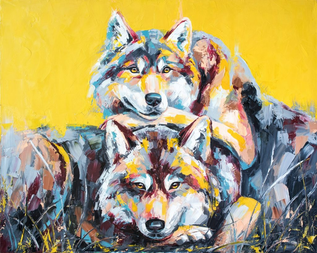 Oil painting of two wolves in multicolored tones
