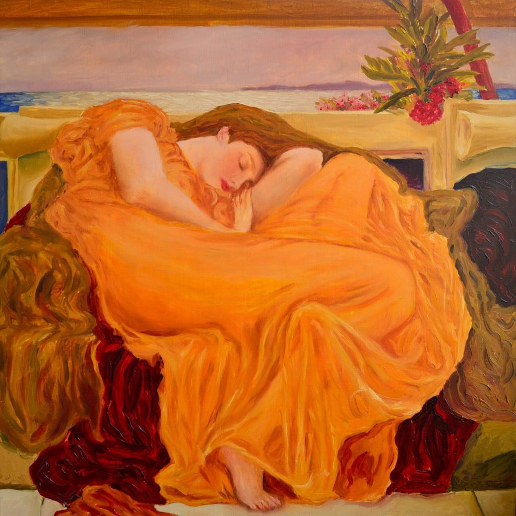 Oil painting called Flaming June by Frederic Leighton using the color Chrome Orange on a woman's dress