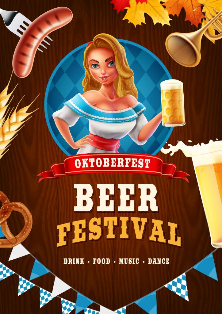Oktoberfest graphic design poster on a wooden background