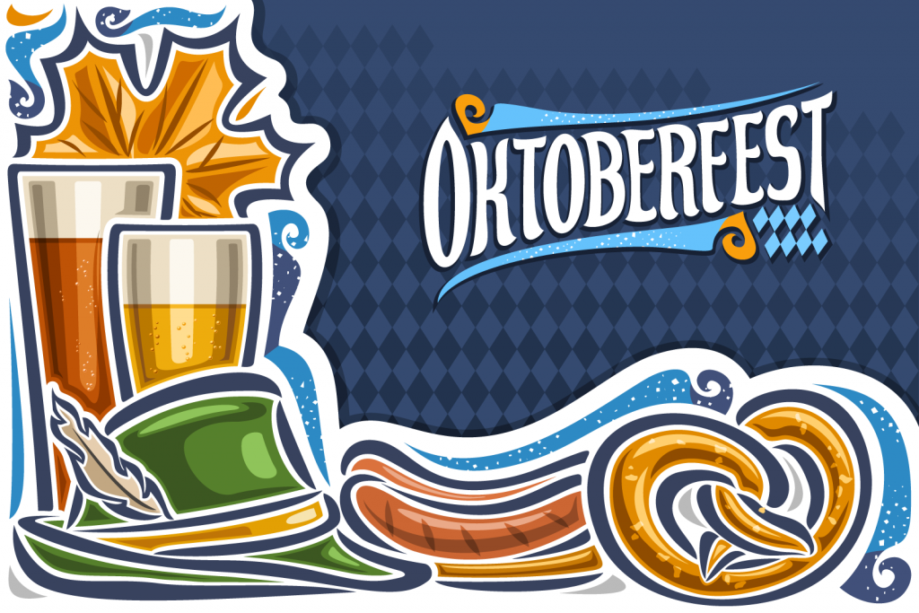 Oktoberfest greeting card in blue and white colors