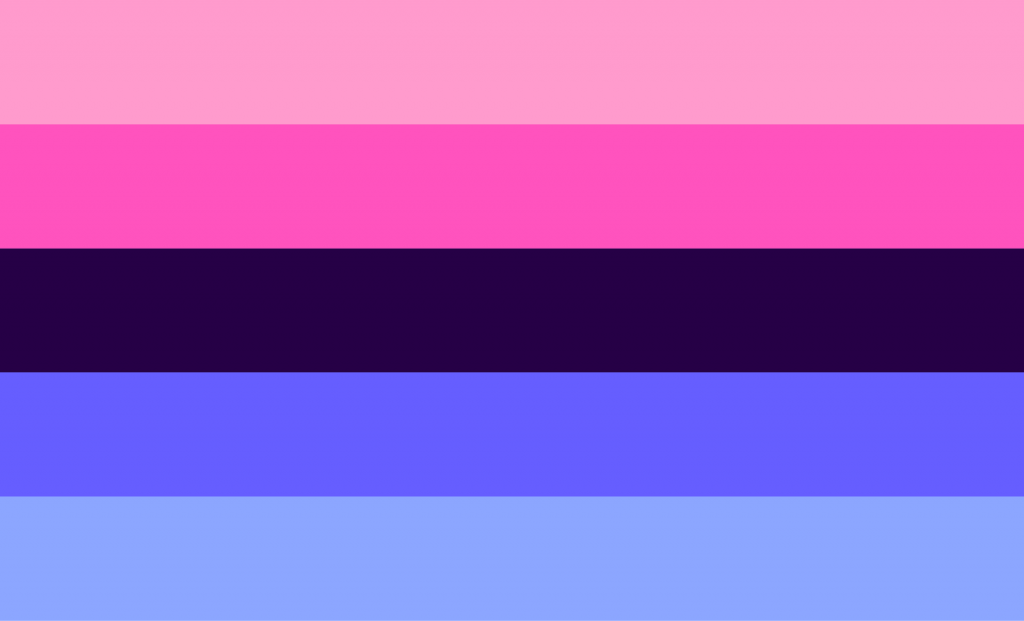 Omnisexual pride flag in pink and blue colors