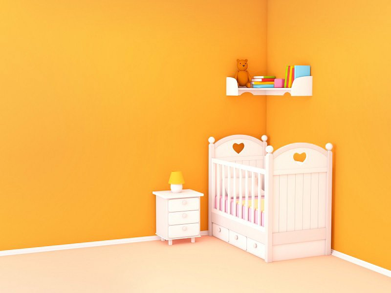 Baby's bedroom with crib and nightstand