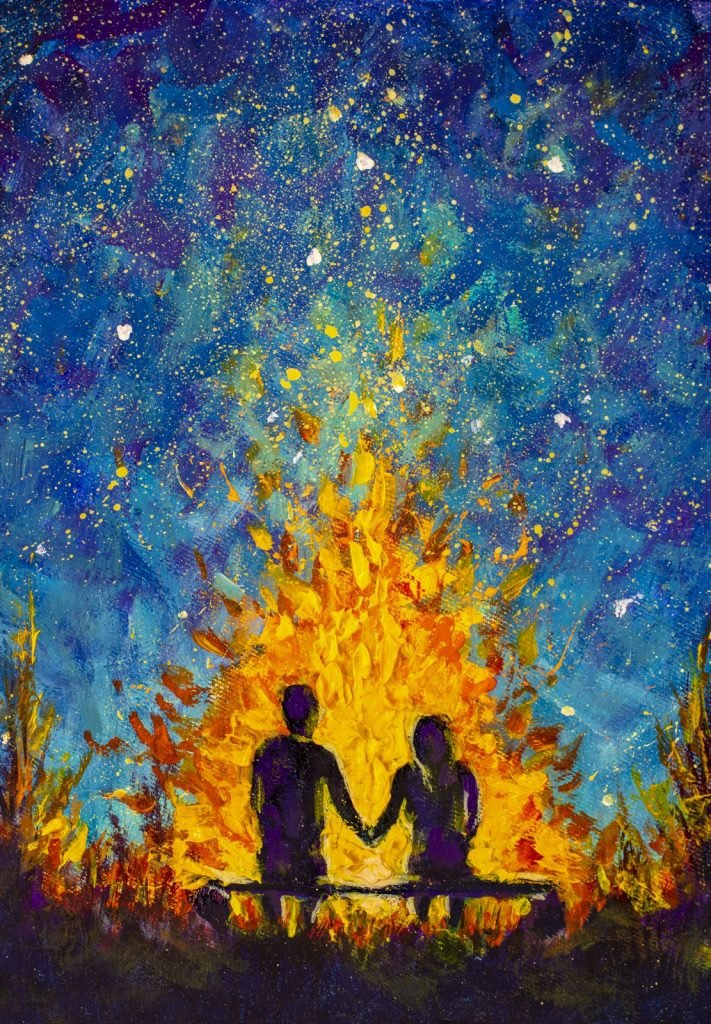Oil painting of couple in love holding hands sitting on bench near orange bonfire