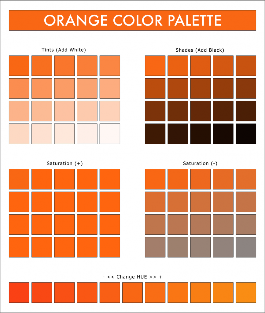 Orange color palette with tints, shades, saturation and hues