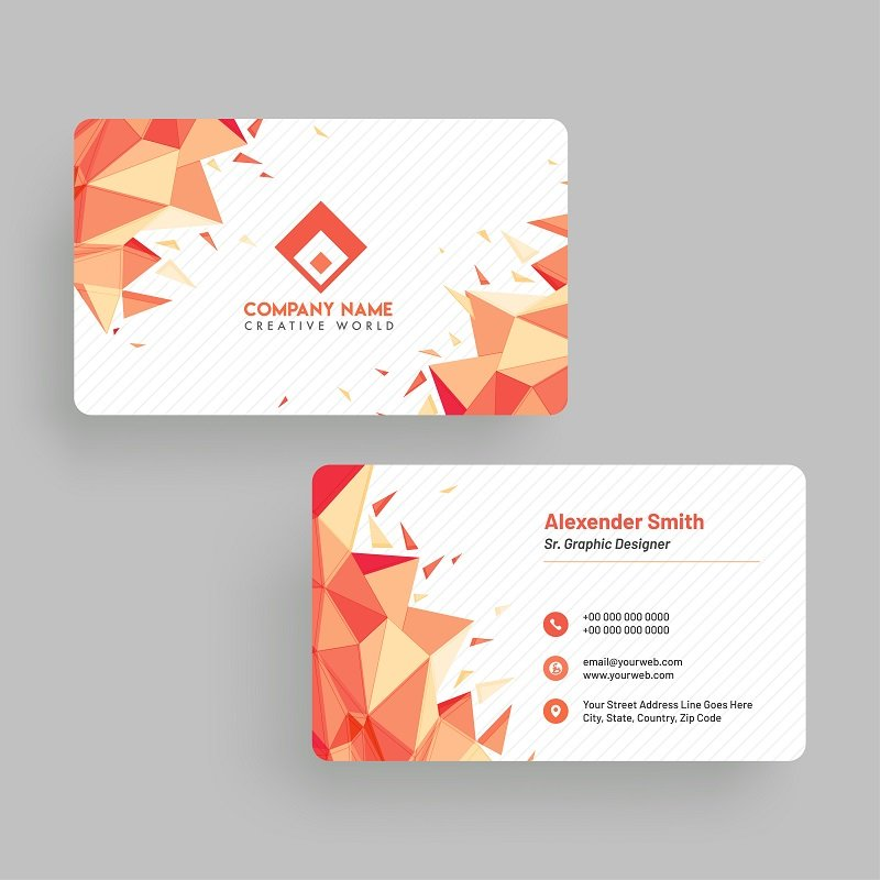 orange colored business cards