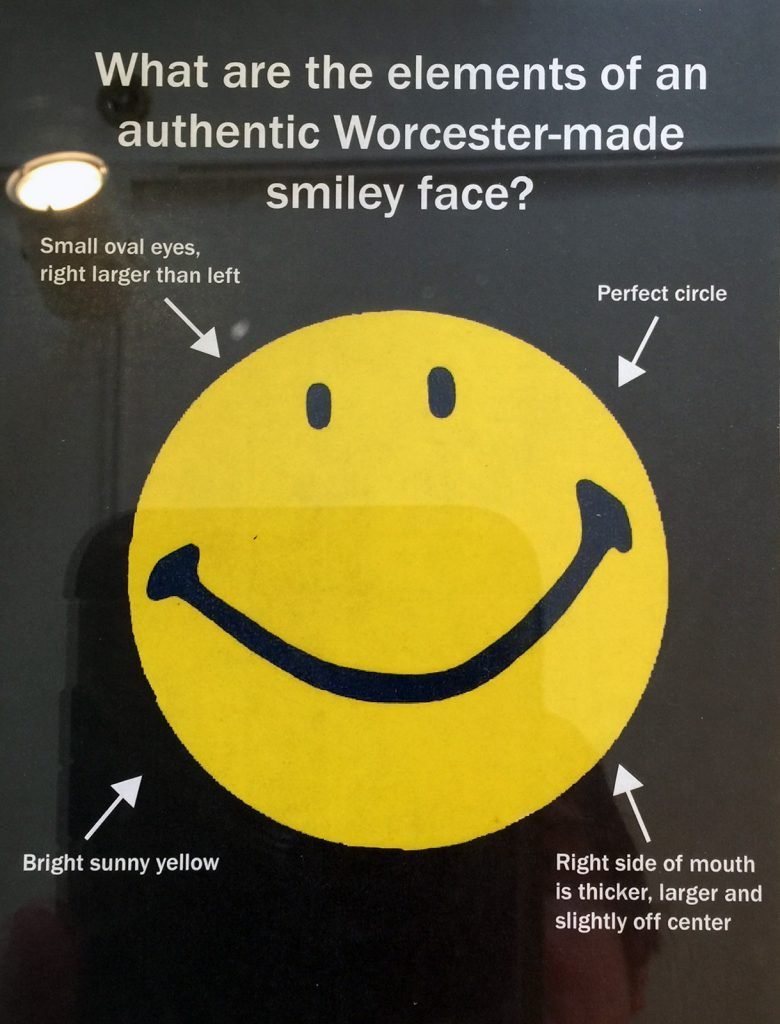 Original smiley face made by Harvey Ross Ball from the Worcester Historical Museum in Massachusetts