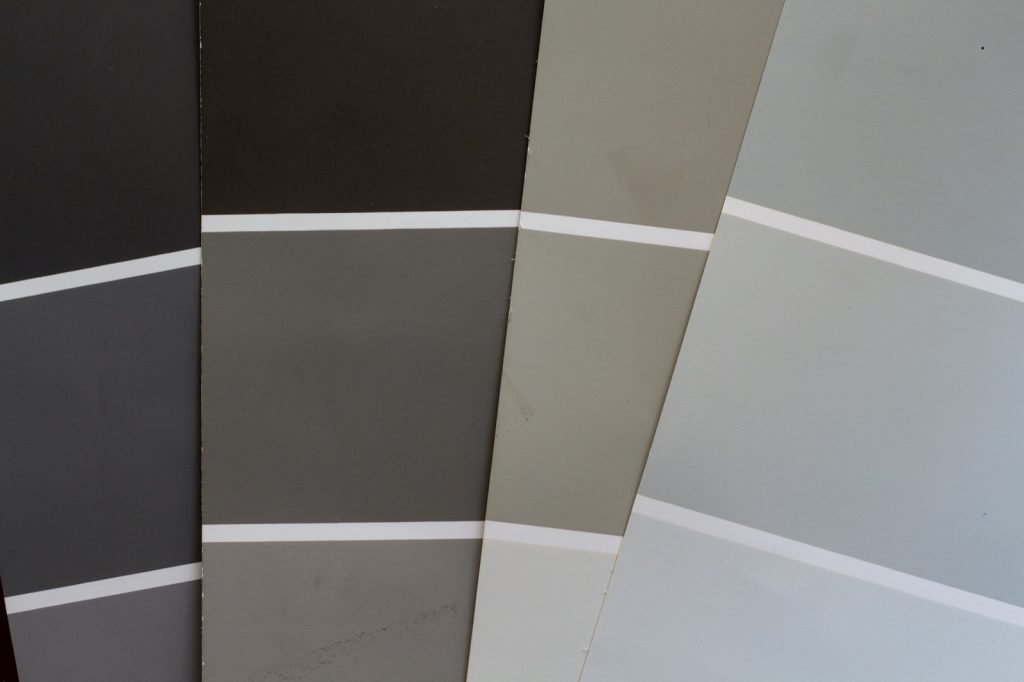 Paint chip samples for redecorating in neutral colors