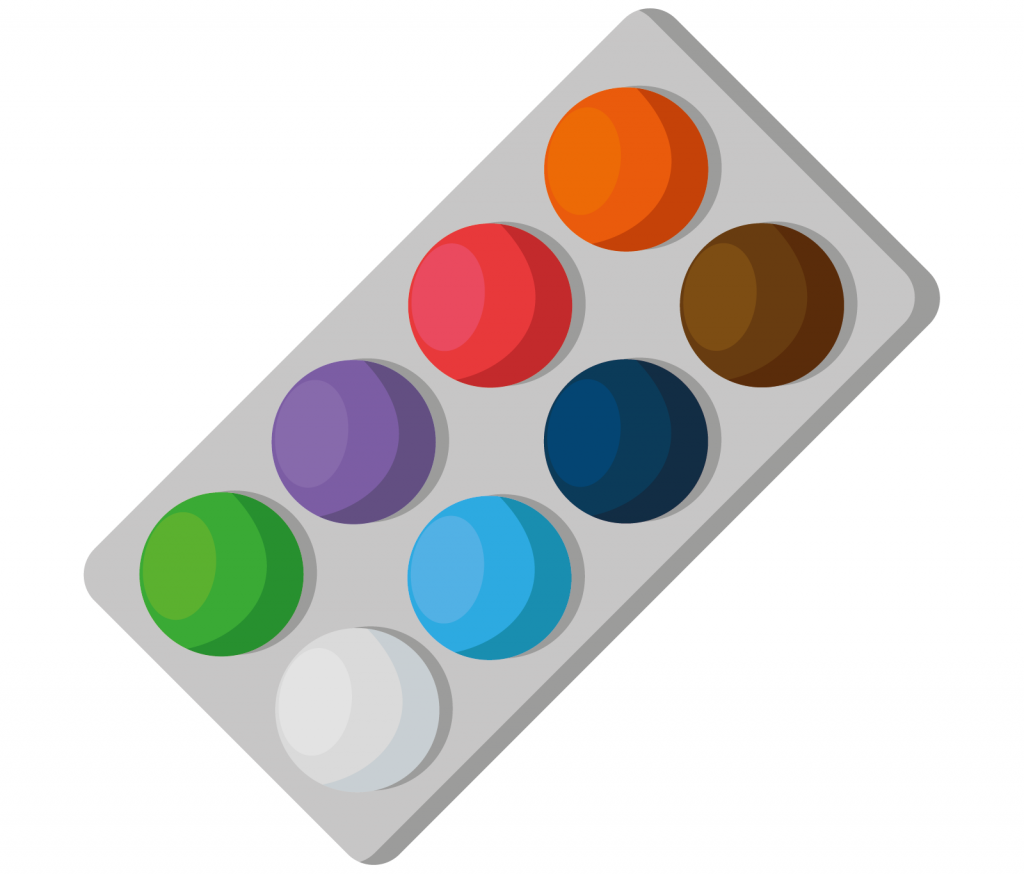 Paint color palette with eight colors