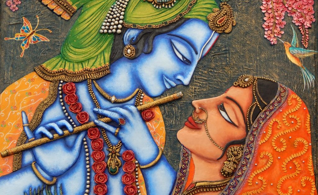 Painting of Hindu god Krishna and his beloved Radha