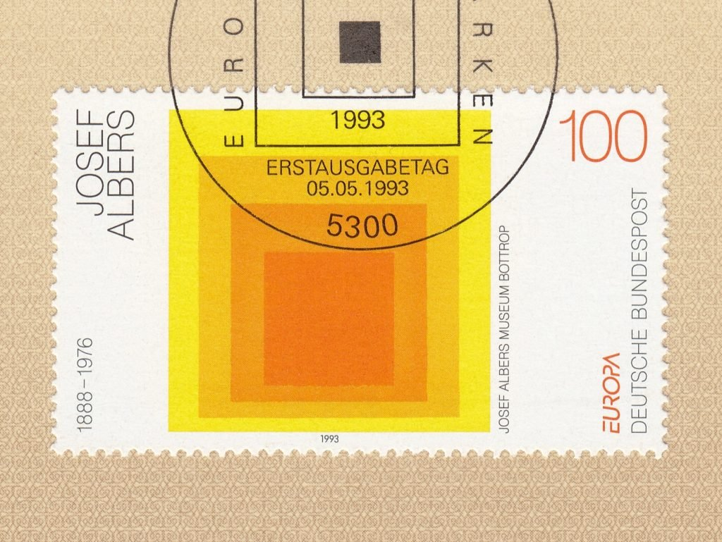 Homage to the Square painting by Josef Albers on a German stamp