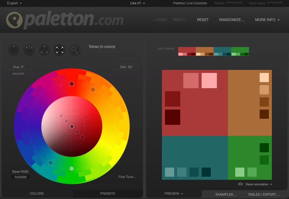 Screenshot of Paletton color palette generator