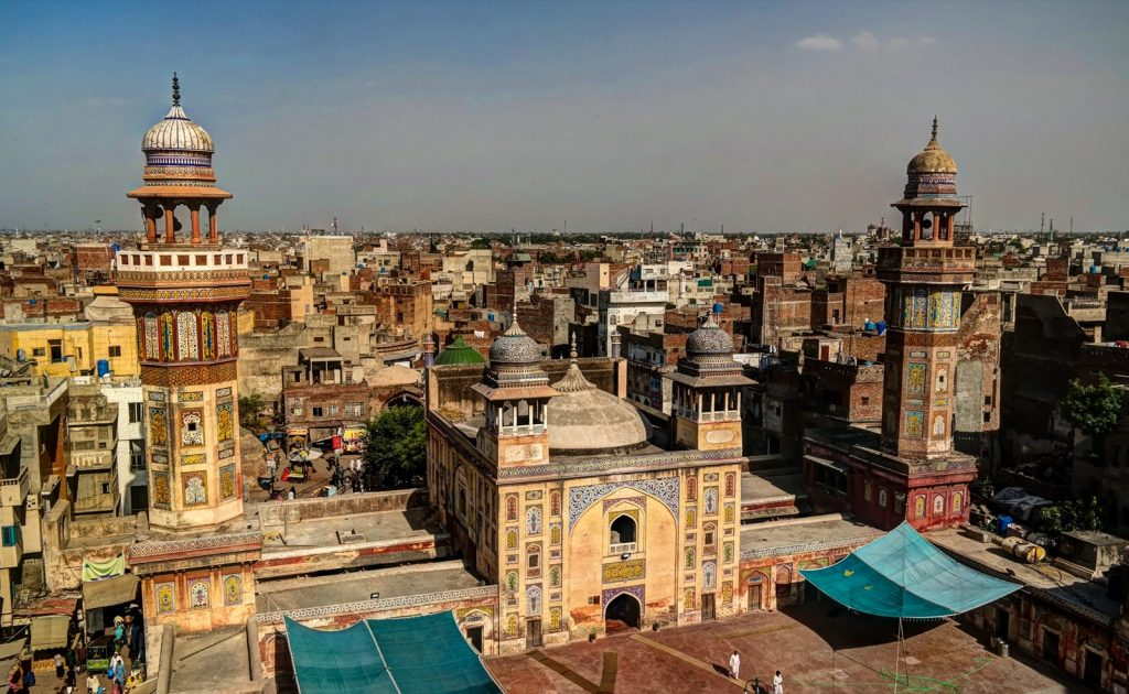 Panoramic view of historic building Wazir Khan Mosque, Lahore, Pakistan