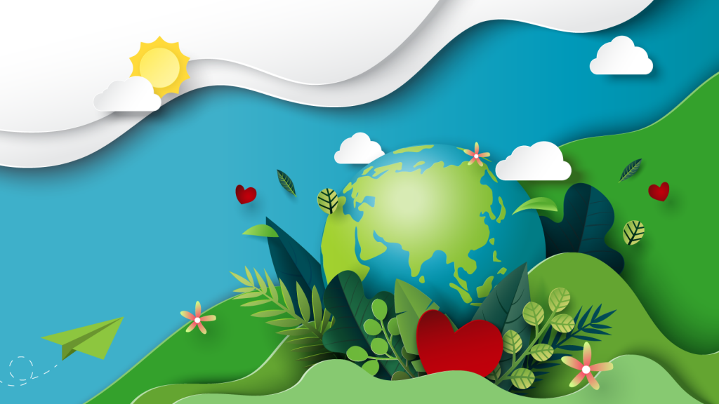 Colorful nature Earth Day concept with green and blue paper art