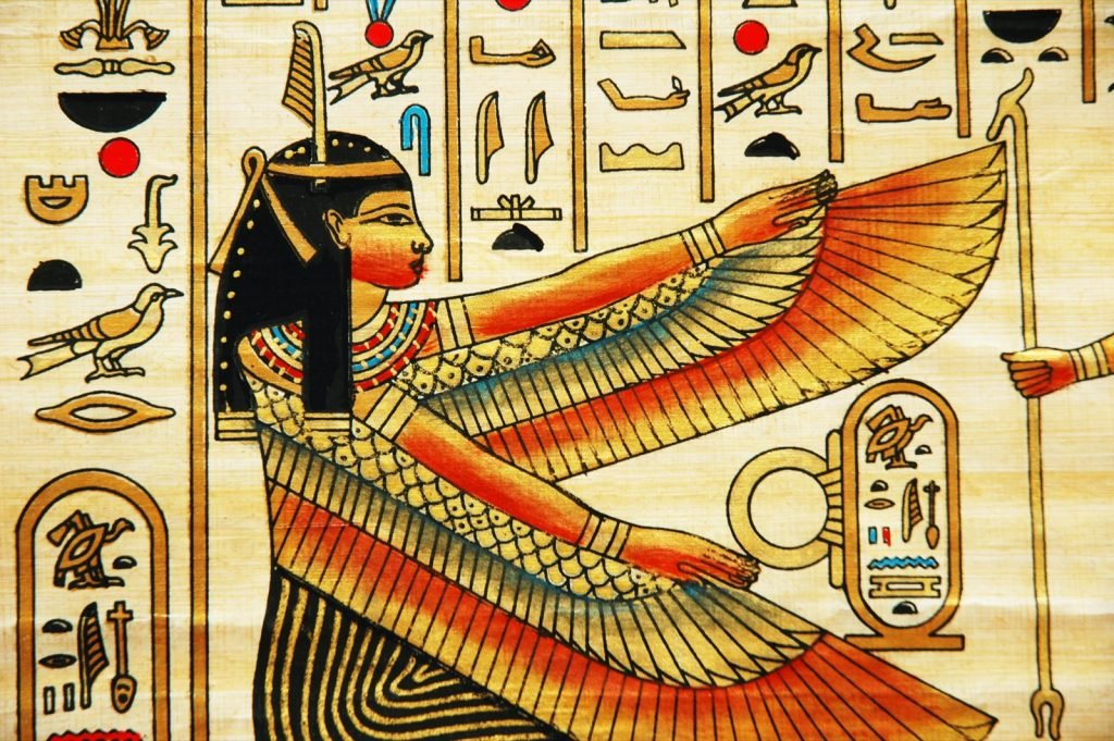 Papyrus with elements of Egyptian ancient history in yellow and red colors