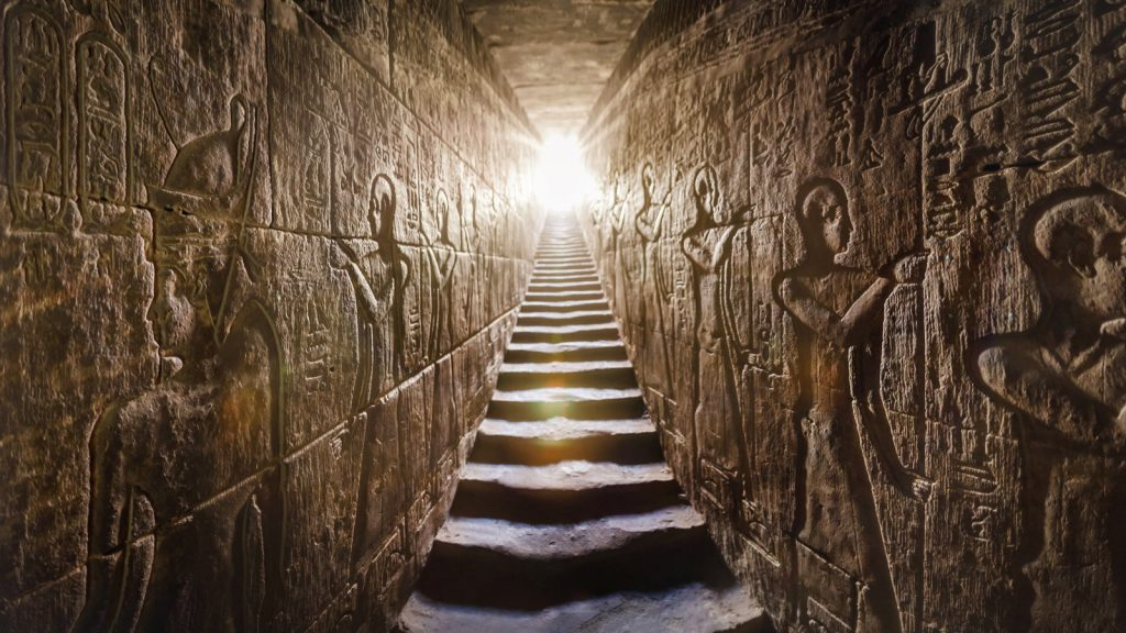 Passage with Egyptian hieroglyphs in the Temple of Edfu in Egypt